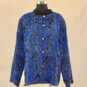 Indigo Moon Sequin Beaded Jacket NWT